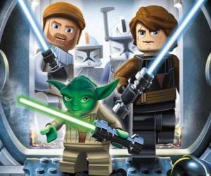 Puzzle de Lego Star Wars: Yoda, Luke Skywalker, Obi-Wan Kenobi
