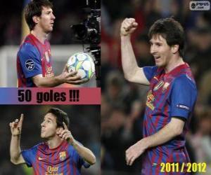 Puzzle de Leo Messi, máximo goleador de la historia de la liga Española, 2011 - 2012