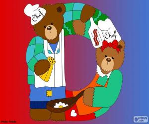 Puzzle de Letra D de osos