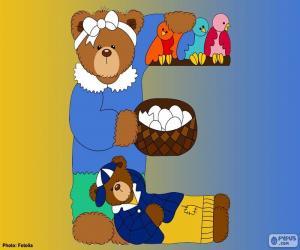 Puzzle de Letra E de osos