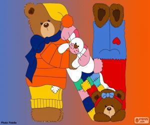 Puzzle de Letra N de osos