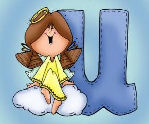 Puzzle de Letra U con un ángel