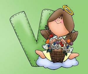 Puzzle de Letra V con un ángel