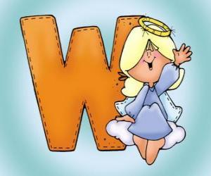 Puzzle de Letra W con un ángel