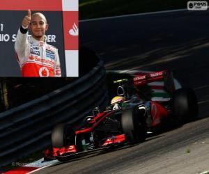 Puzzle de Lewis Hamilton celebra su victoria en el Gran Premio de Italia 2012