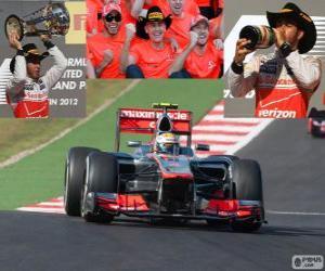 Puzzle de Lewis Hamilton celebra su victoria en el Gran Premio de Estados Unidos 2012