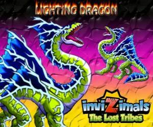 Puzzle de Lightning Dragon. Invizimals Las Tribus Perdidas. Este invizimal dragón domina el poder del rayo y el trueno