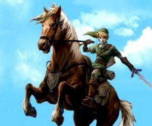 Puzzle de Link a caballo con la espada en las aventuras del vídeojuego La Leyenda de Zelda