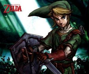 Puzzle de Link con la espada y el escudo en las aventuras del vídeojuego La Leyenda de Zelda