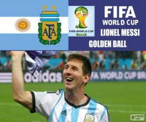 Puzzle de Lionel Messi, balón de Oro. Mundial de Fútbol Brasil 2014