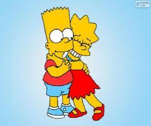 Puzzle de Lisa y Bart abrazados como buenos hermanos