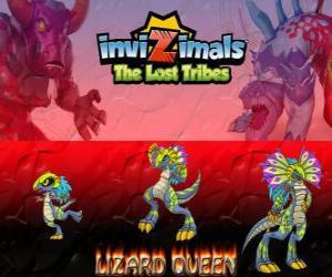 Puzzle de Lizard Queen, última evolución. Invizimals Las Tribus Perdidas. La reina de los reptiles es hermosa y sabia