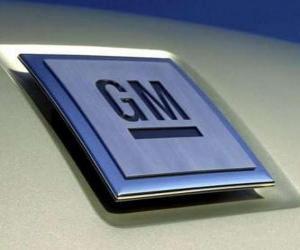 Puzzle de Logo de GM o General Motors. Marca de coches de los EUA
