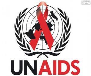 Puzzle de Logo de ONUSIDA o UNAIDS. Programa Conjunto de las Naciones Unidas sobre el VIH/sida