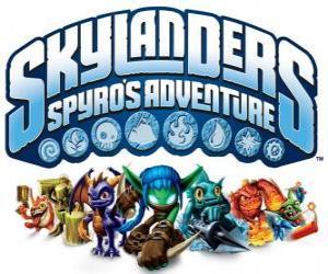 Puzzle de Logo del videojuego del dragón Spyro, Skylanders: Las aventuras de Spyro