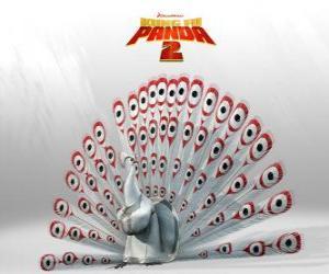 Puzzle de Lord Shen, un pavo real albino es el enemigo principal en las aventuras de la película Kung Fu Panda 2