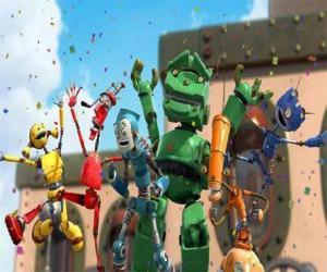 Puzzle de Los amigos de Rodney en Ciudad Robot - Los Oxidados liderados por Manivela