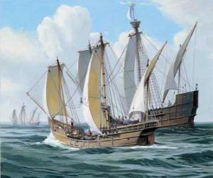 Puzzle de Los barcos del primer viaje de Colón eran la nave Santa María, y las carabelas, la Pinta y la Niña