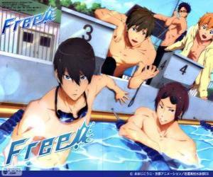 Puzzle de Los cinco protagonistas de Free! Rin, Haruka, Nagisa, Rei y Makoto