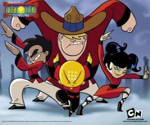 Puzzle de Los cuatro jovenes monjes, protagonistas de Xiaolin Showdown, Duelo Xiaolin