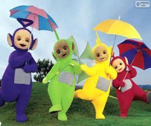 Puzzle de Los cuatro Teletubbies con sus paraguas abiertos