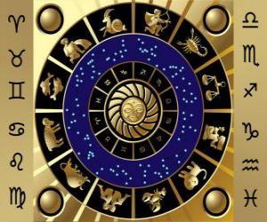 Puzzle de Los doce signos del zodíaco, la Rueda del Zodíaco o el Círculo del Zodíaco