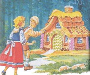 Puzzle de Los dos hermanos Hansel y Gretel descubren una casita hecha de deliciosos dulces