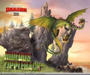 Puzzle de Los dragones Horrible Zippelback provocan explosiones, mientras una cabeza emite gas, la otra lo enciende