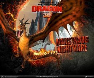 Puzzle de Los gigantescos dragones Pesadilla Monstruosa pueden atacar a cualquier hora del día o de la noche, desde el aire o desde el suelo