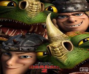 Puzzle de Los hermanos gemelos Chusco y Brusca Thorston con sus dragones