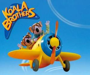 Puzzle de Los koalas Buster y Frank pilotando un avión