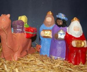 Puzzle de Los Magos de Oriente Melchor, Gaspar y Baltasar con sus regalos