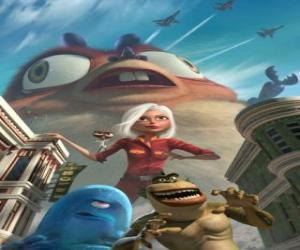 Puzzle de Los monstruos son los héroes - Genormica, Dr. Cucaracha, B.O.B, el Eslabón Perdido y Insectosaurio