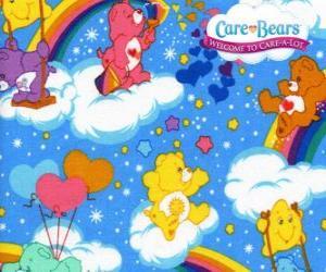 Puzzle de Los osos amorosos jugando con las nubes y los arcoiris