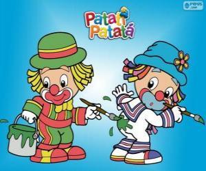 Puzzle de Los payasos Patati Patatá, dos pintores