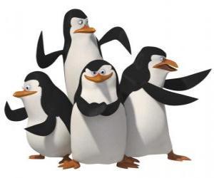 Puzzle de Los pingüinos, Skipper, Kowalski,  Rico y Privado.