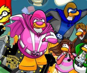 Puzzle de Los pingüinos superhéroes del Club Penguin