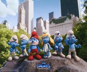 Puzzle de Los Pitufos en el Central Park de Nueva York - Los Pitufos, película -