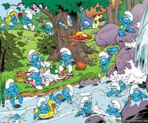 Puzzle de Los Pitufos en el rio