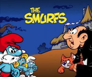 Puzzle de Los Pitufos, frente al malvado brujo Gargamel y su gato Azrael
