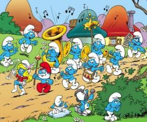 Puzzle de Los Pitufos hacen una banda de música