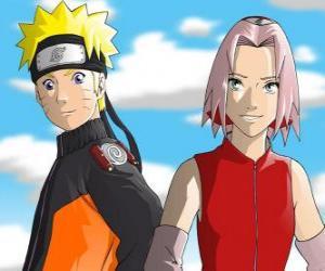 Puzzle de Los protagonistas Naruto Uzumaki y Sakura Haruno sonrientes