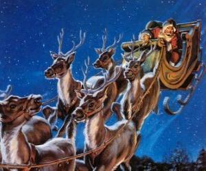 Puzzle de Los renos mágicos tirando del trineo de Santa Claus en la noche de Navidad
