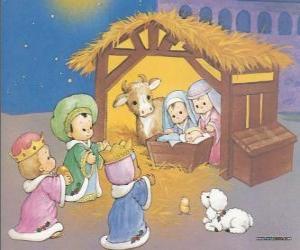 Puzzle de Los Reyes Magos entregando sus ofrendas, oro, incienso y mirra, al Niño Jesús