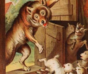 Puzzle de Los siete cabritillos están asustados y corren a esconderse cuando ven al lobo en la puerta