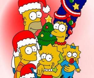 Puzzle de Los Simpson te desean unas felices fiestas navideñas