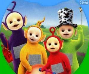 Puzzle de Los Teletubbies: Tinky Winky, Laa-Laa, Po y Dipsy
