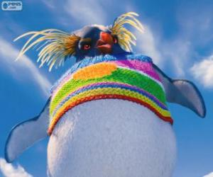 Puzzle de Lovelace, extraño pinguino con un jersey de lana de colores, Happy Feet 2