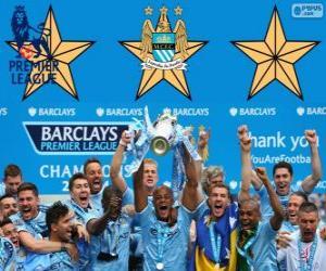 Puzzle de Manchester City, campeón Premier League 2013-2014, liga de fútbol de Inglaterra
