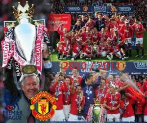 Puzzle de Manchester United, campeón de la liga inglesa de fútbol Premier League 2010-2011